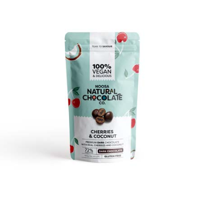 DARK CHOC COATED CHERRIES & COCONUT 100g (BX6)