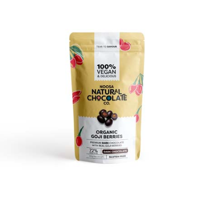 DARK CHOC COATED ORGANIC GOJI BERRIES 125g (BX6)