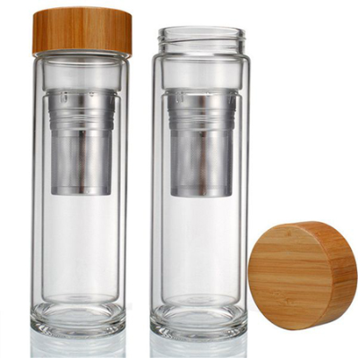 DOUBLE WALLED BAMBOO SPORTS BOTTLE TEA INFUSER 320ml