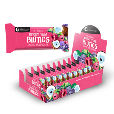 BERRY YUM BIOTICS KIDS WHOLEFOOD BAR 30g 16pk