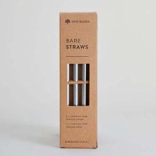BARE DRINKING STRAWS - STAINLESS STEEL 3Pk