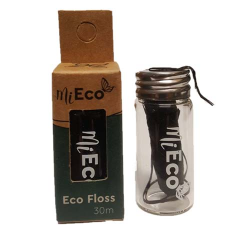 DENTAL FLOSS BAMBOO CHARCOAL GLASS DISPENSER 30M (BX8)