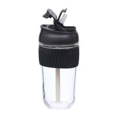 BLACK REUSABLE TRAVEL CUP WITH STRAW 540ml