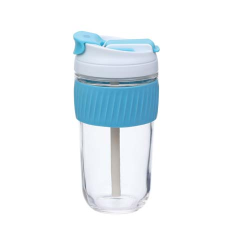 BLUE REUSABLE TRAVEL CUP WITH STRAW 540ml