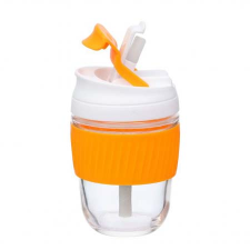 ORANGE REUSABLE TRAVEL CUP WITH STRAW 360ml